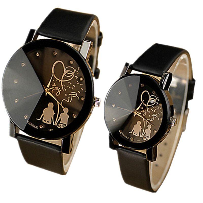 Quartz Montre Femmes Hommes Montre-Bracelet En cuir Montre-Bracelet Unisexe Mode Cristal Boy Girl Hour