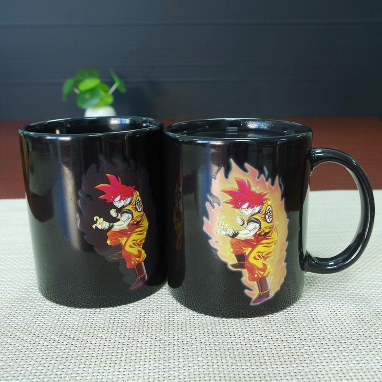 Free shipping Newest design wholesale best gifts dragon ball Z Wukong Goku ceramic heat sensitive magic color changing coffee mug tea cup