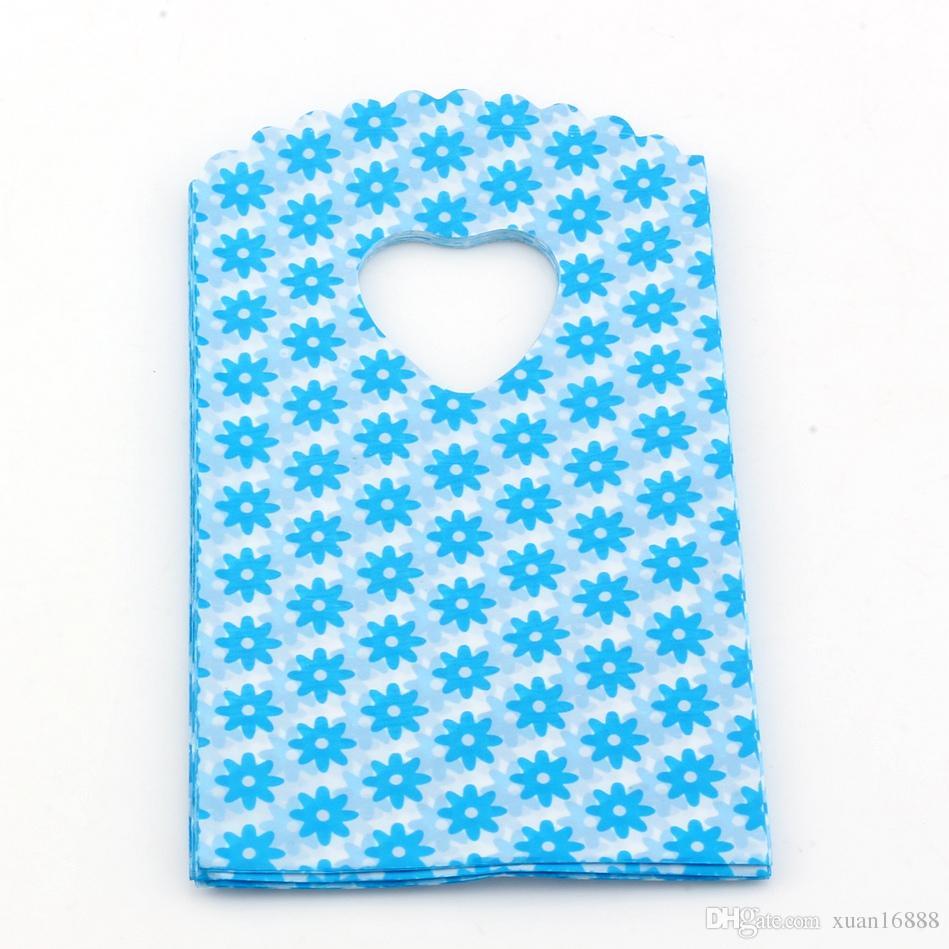 Горячие продажи! 500 шт. / Лот 15x9см Синие маленькие цветочные узоры пластиковые украшения подарочные сумки ювелирные сумки сумки сумки