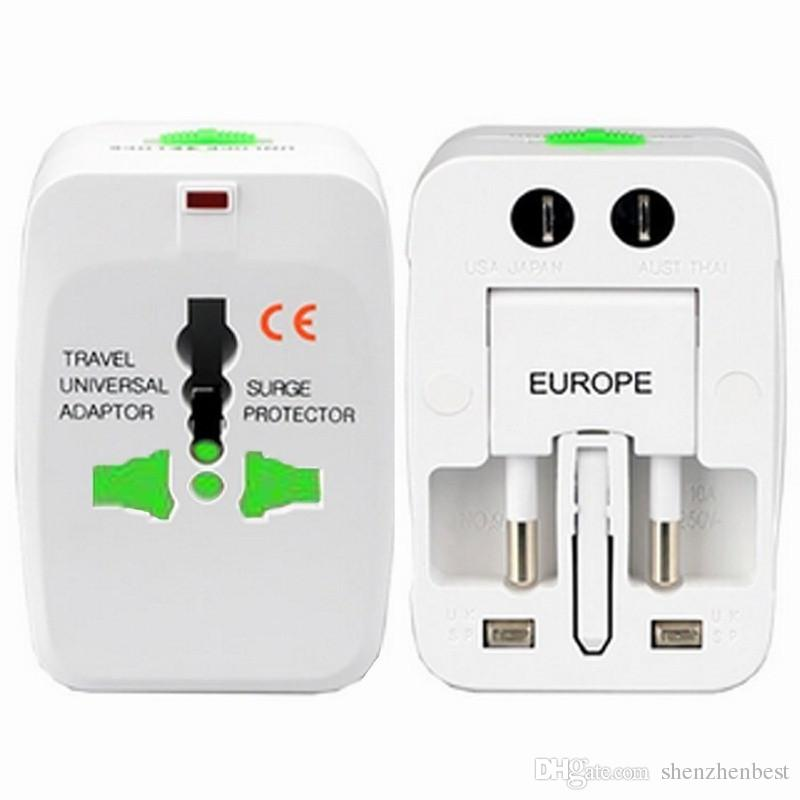 Wholesale 200ps/lot All in One Universal Plug Adapter World Travel AC/DC Power Socket Charger Adaptors with AU US UK EU Converter plug