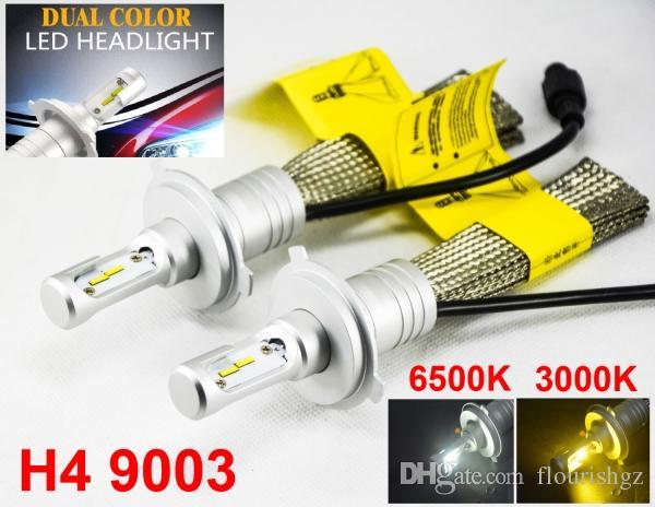 1 세트 H4 HB2 9003 60W 8000LM S5 LED 헤드 라이트 키트 LUMI ZES 칩 듀얼 컬러 3000K 골든 옐로우 + 6500K 퓨어 화이트 팬리스 2-in-1 앰버 화이트