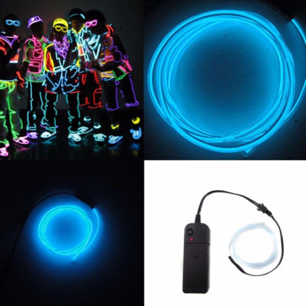 decoración de la luz cadena de luz de neón nuevo 3M Fleixble Operado por baterías AA EL cable del tubo de la cuerda con el controlador