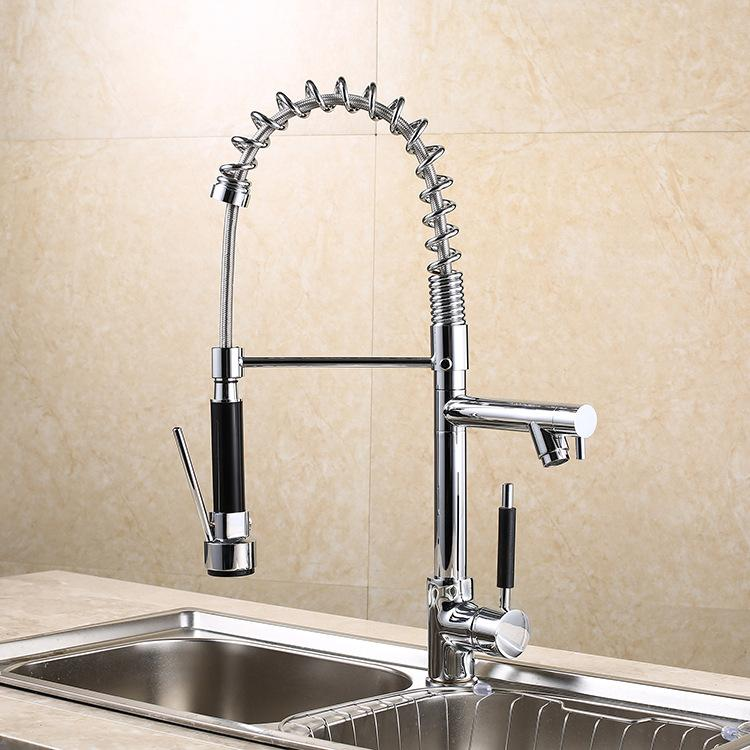 Chorme Polish Kitchen Tap Deck Mounted Sink Faucet Single Handle Mixer Faucet Multi-functional kitchen faucets Can stretch chrome faucets