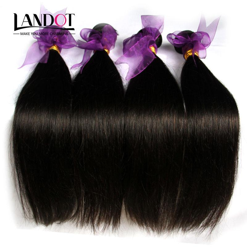 Brazilian Straight Hair 4 Bundles Unprocessed Human Hair Weaves Cheap Malaysian Indian Cambodian Peruvian Remy Hair Extensions Natural Color