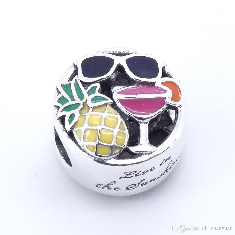 Summer Fun, Charm Smalto misto 2017 Estate 100% 925 Sterling Silver Bead Fit Bracciale Pandora autentico fascino gioielli di moda