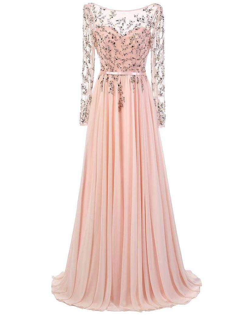 Abiti da sera rosa chiaro stile elegante Appliques in rilievo manica lunga Chiffona Lunghezza pavimento Abiti da festa per ragazze su misura