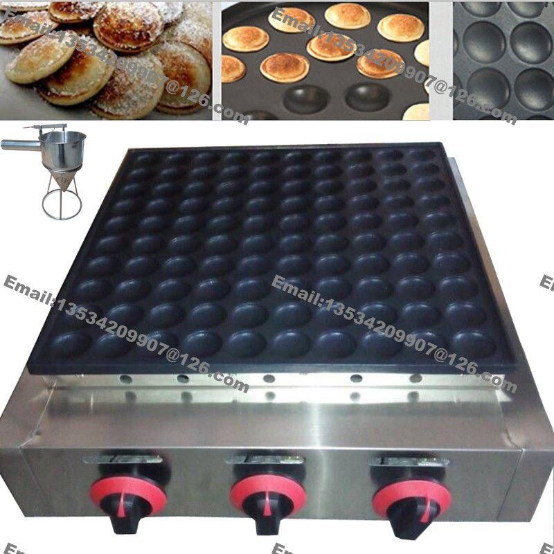 Neue 100 stücke Poffertjes Gewerbliche Nutzung Antihaft LPG Gas Mini Dutch Pancake Machine Maker Baker + Batter Dispenser