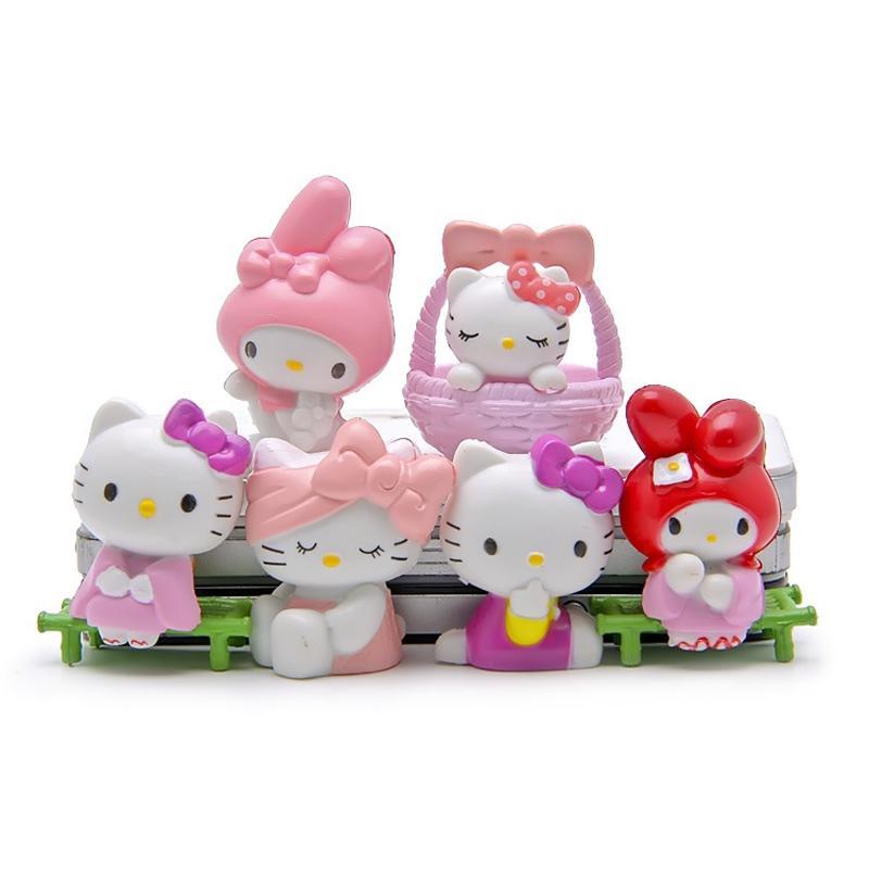 6 stücke Grüne Bank Kawaii Hallo Kitty Fairy Garden Miniaturen Terrarium Bonsai Werkzeuge Gnomen Sushi Tabletop Dollhouse Decor Baby Geburtstagsgeschenke