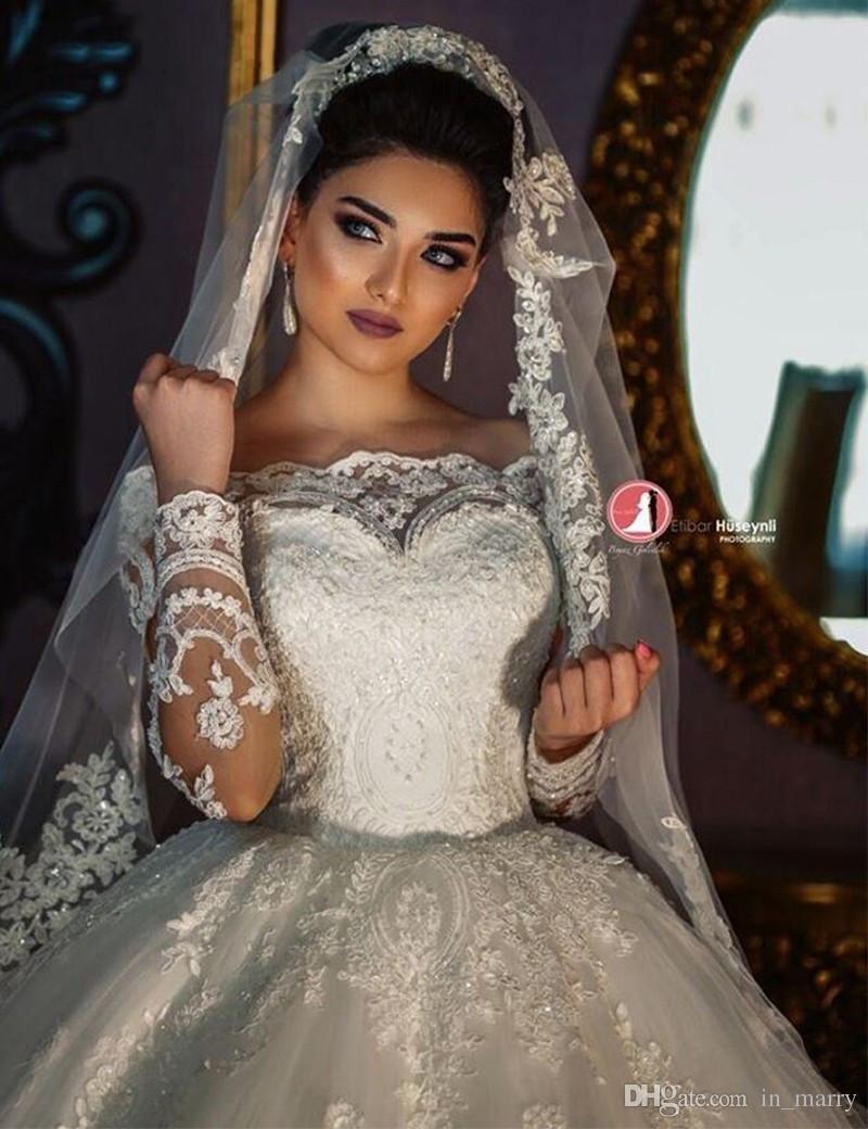 Victorian Islamic Muslim Ball Gown Wedding Dresses 2017 Off Shoulder ...