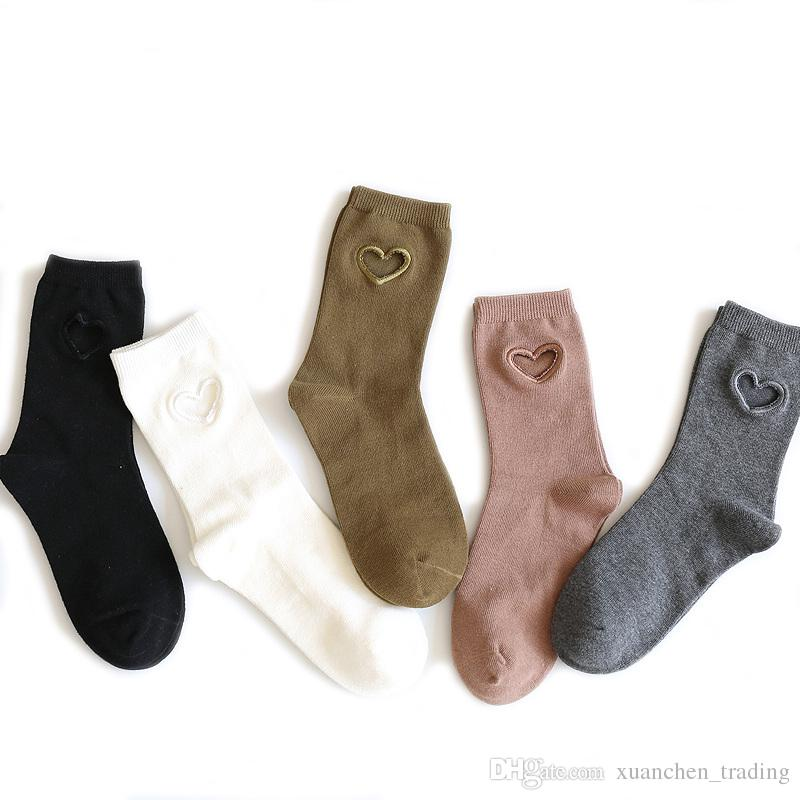 2017 New Fashion Women socks Cotton Novelty Love embroidery hollow out mid-calf length Personality Tide socks cute Sexy sock