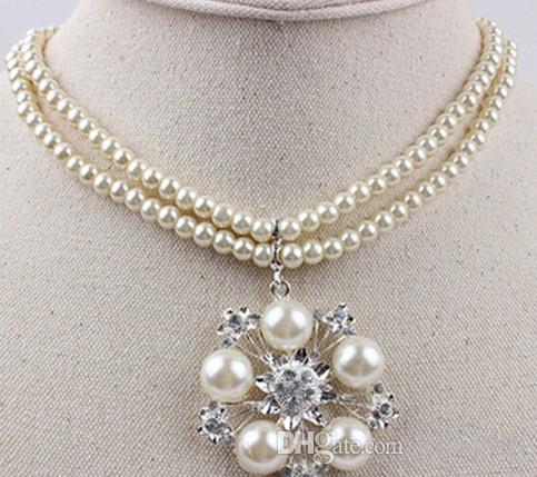 белый цвет Кристалл бусины цветок свадьба невеста леди комплект ожерелье серьги tp[o