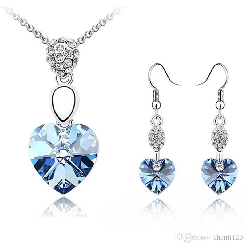 Moda Bijouterie di cristallo, dai gioielli elementi di SWA femminile Imposta goccia collana del pendente di cristallo del cuore orecchini per le donne 2696