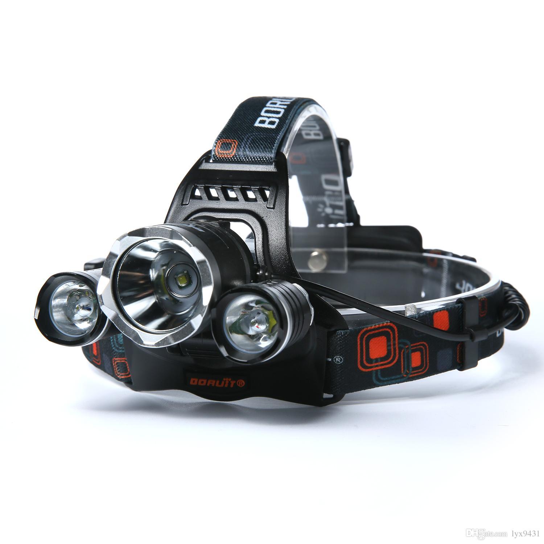Boruit 5000LM 3x CREE XM-L T6+2R5 LED Headlight Headlamp Head Headlamps Headlight Headlamp Head Lamp Light Torch USB Lamp Charge