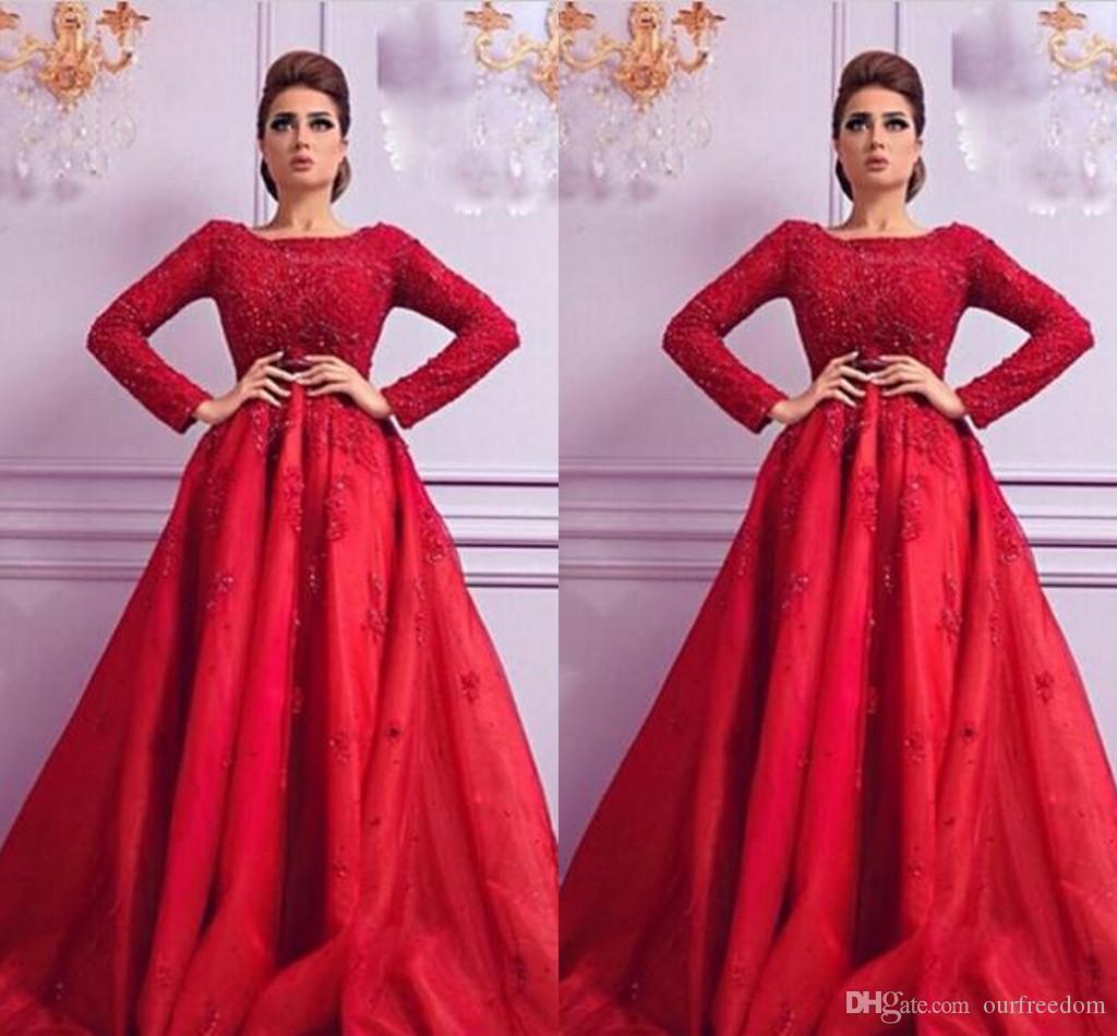 2019 Dubaï cou arabe bateau rouge une ligne robes de soirée manches longues appliques perlé satin formelle robes de bal occasion