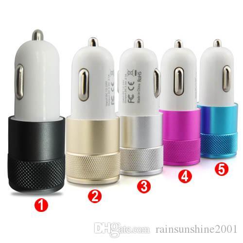 Carregador de carro de metal Dual USB LED indicar acender adaptador para carro para iphone 7 7 plus 6 6 plus samsung htc