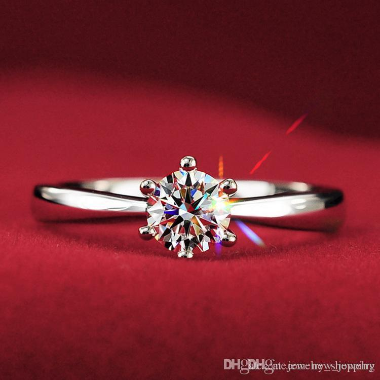 Hot Koop 1kt CZ Diamond Trouwringen voor Vrouwen 925 Sterling Silver Engagement Rings Solitaire Oostenrijk Crystal Finger Ring