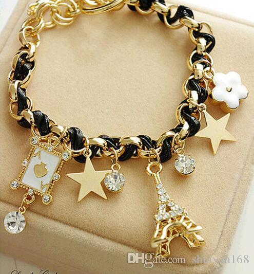 Star Цветочного покера Парижской Эйфелева башня короны веревка Braid Браслет Сладкой кожа Шарм Кристалл браслет