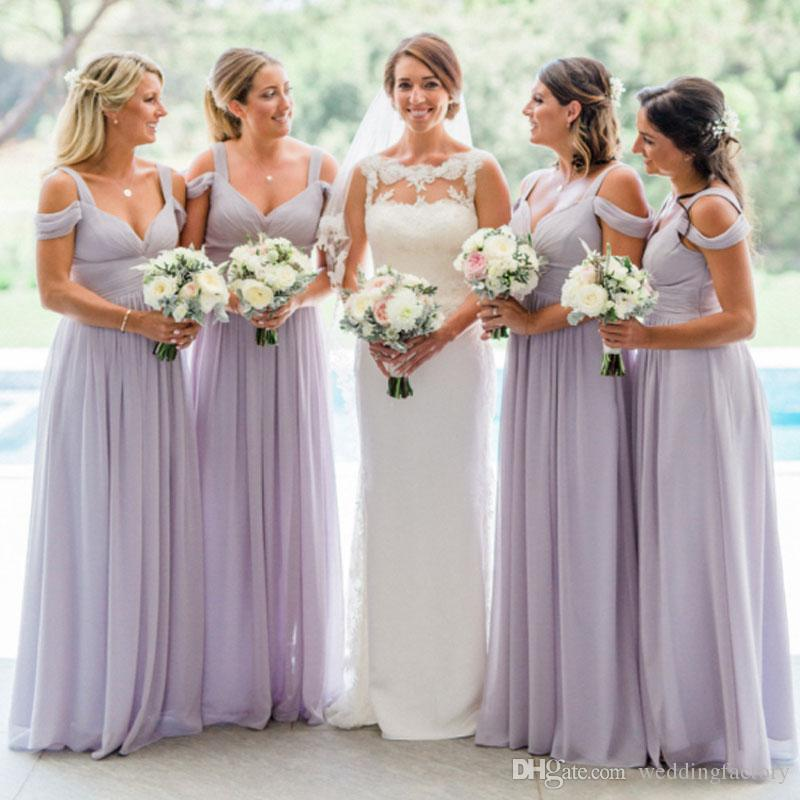 2019 Country Lavender Bridesmaid Dresses Custom Made Colors Bridesmaids Dress Ruched Chiffon Floor Length Straps Off the Shoulder Weddings