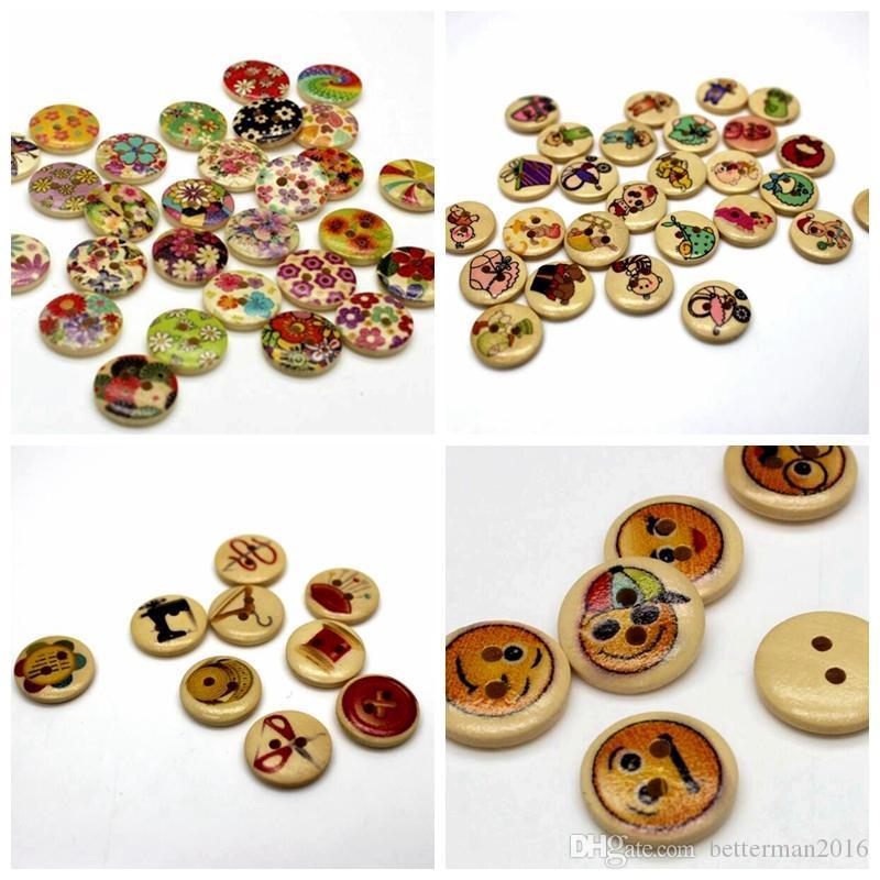 WB-23 оптом 100 шт. Mixcolor окрашены Wodden кнопки два отверстия улыбка цветок дерева Пуговица декоративные Швейные Ремесла Аксессуары для Одежды