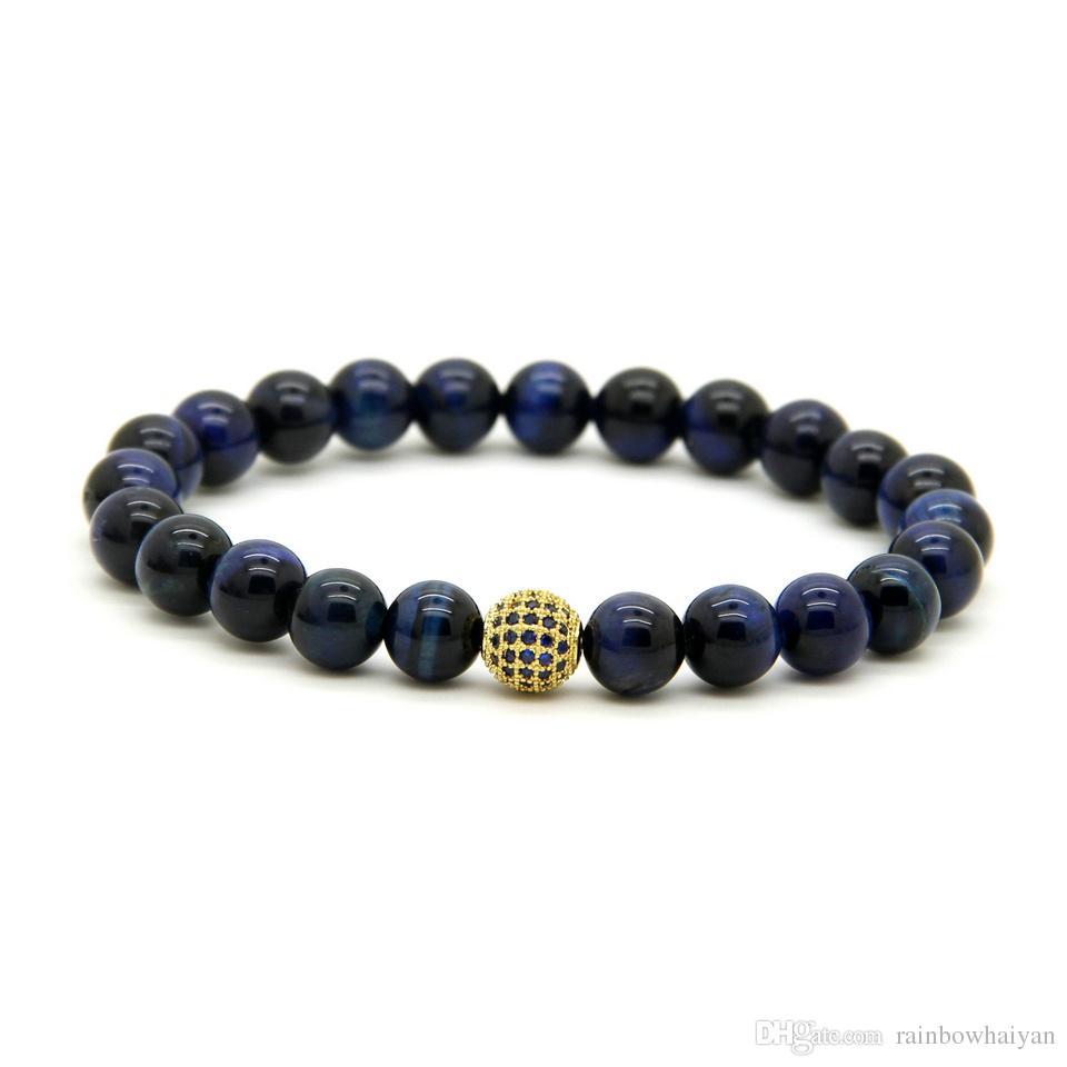 10 pçs / lote 8mm um grau azul pedra olho de tigre contas pulseiras micro pavimentada azul cz bola frisada presente da jóia para o amigo e família