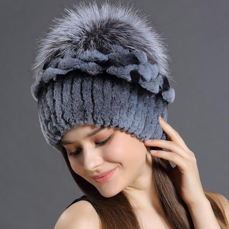 Winter Hats Rabbit Fur Beanies Headgear For Women With Fox Fur Luxury Ball Flower Cap Women's Customized Hat Beanie