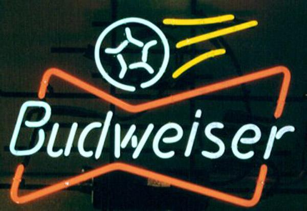 "Budweiser Soccer Neon Sign Handmade Custom Real Glass Tube Store Beer Bar Sport Game Room Club Advertising Display Neon Signs 17""X14"""