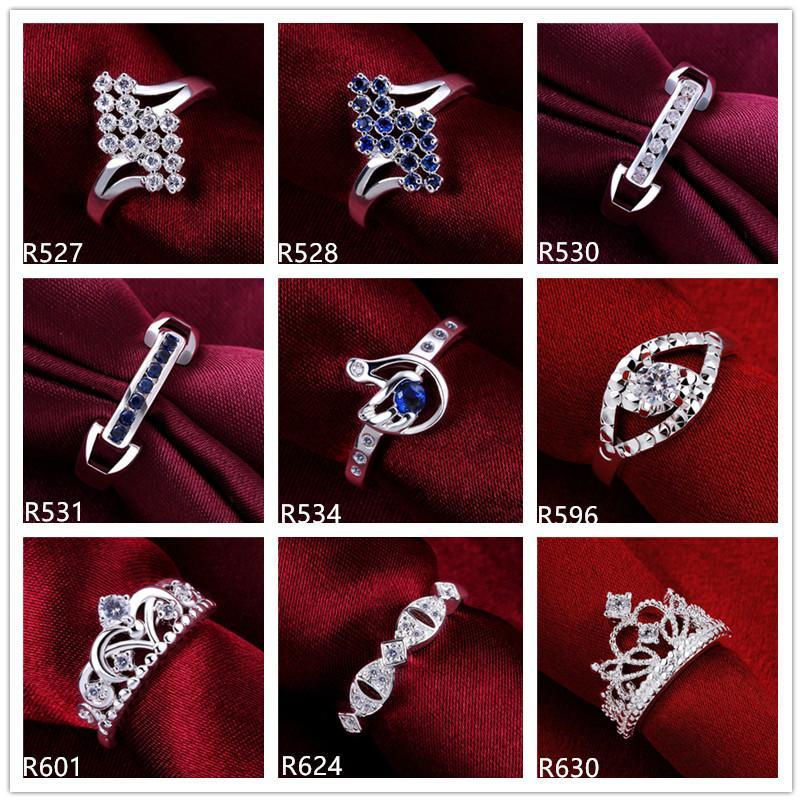Venta de la fábrica de las mujeres plateado anillo de plata esterlina 10 piezas mucho estilo mixto EMR35, en línea para la venta de moda barata 925 anillo de plata