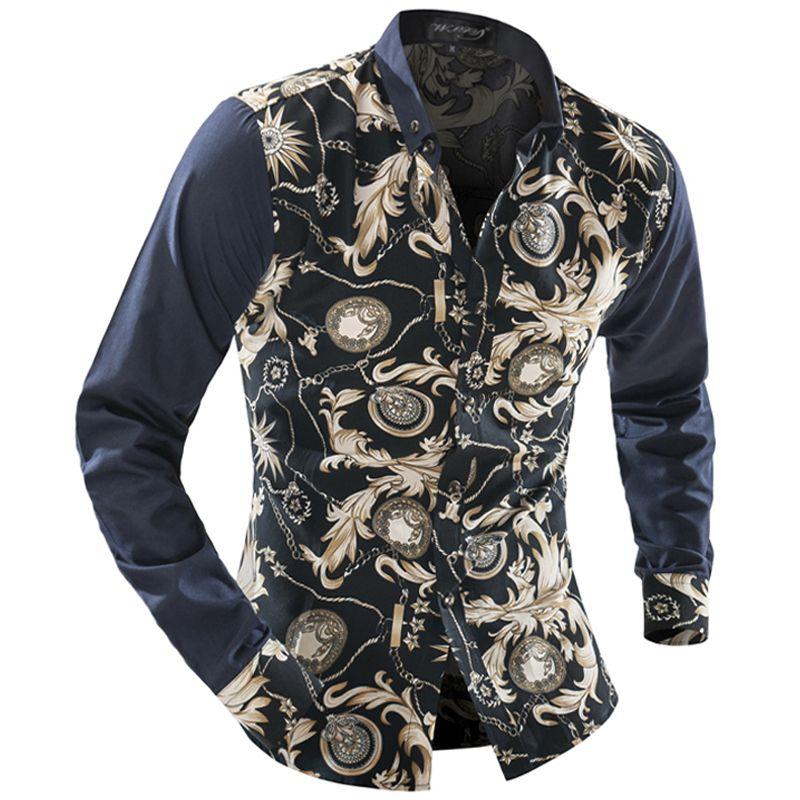 도매 남자 꽃 셔츠 2016 새로운 남성 패션 긴 소매 남자 캐주얼 셔츠는 얇은 남자 웨딩 드레스 셔츠 부드러운 캐주얼 셔츠를 탑스
