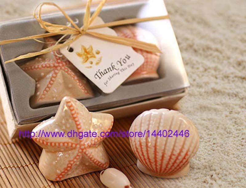 50Pairs = 100pcs / lot snäckskal havskal stjärna fisk sjöstjärna nautisk strand hav salt peppar shakers bröllopsfest presenter