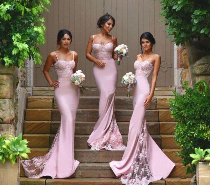 2018 lindo longo da dama de honra vestidos de lilás cintas de espaguete sereia rendas apliques madrinha de casamento sheer saia vestidos de festa de casamento nupcial