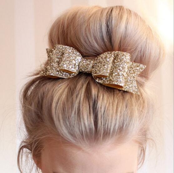wholesale 2016 5pcs/lot glitter Bow hair Clip Barrettes Kids girls Boutique Bowknot Hairpins Free Shippng