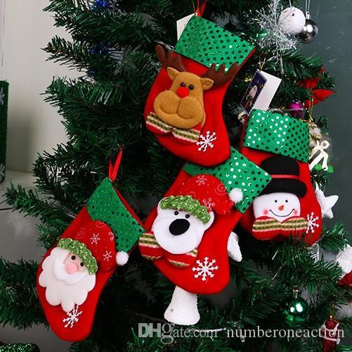 Mini Calze di Natale Coprivassoio per la tavola Decorazioni per l'albero di Natale Decorazioni natalizie Festival Ornamento per feste Paillettes scintillanti