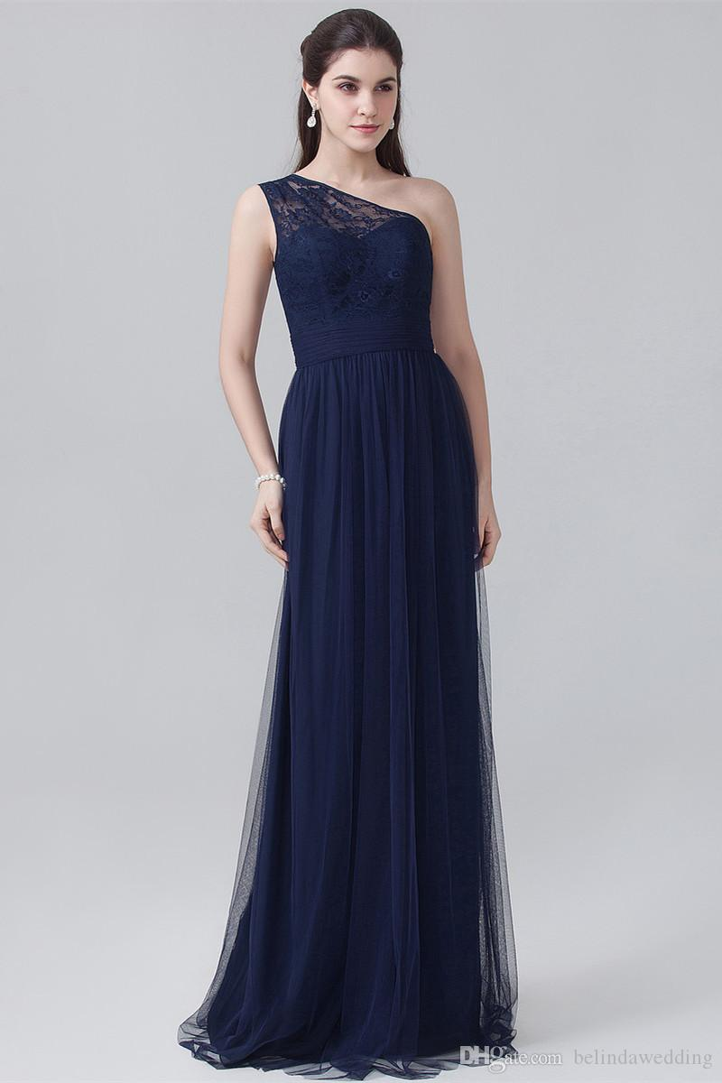 Cheap Navy Blue Chiffon Long Bridesmaid Dresses One Shoulder Lace Top Ruched Wedding Guest Gown Maid Of Honor Formal Evening Dresses Under 1