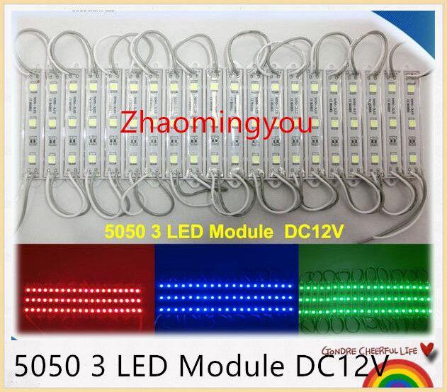 Envío gratis de alta potencia 5050 3 LED Módulo DC12V Diseño de publicidad a prueba de agua llevó módulos de iluminación, 500PCS / Lot