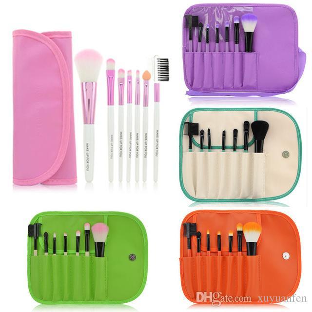 7 pcs Professionnel Maquillage Brush Set outils Maquillage Trousse de Toilette Laine Make Up Brush Set Cas Brosses Outils