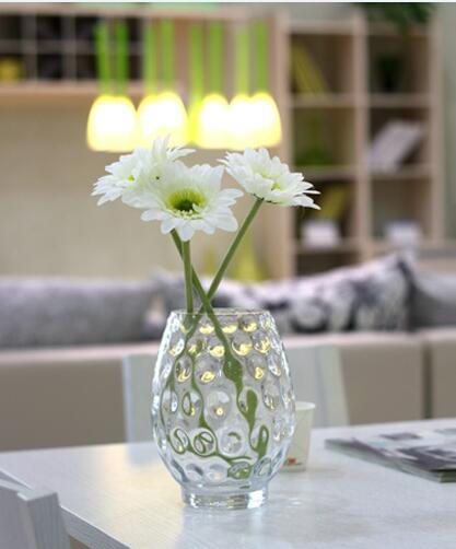Wholesale Handmade Clear Glass Vase Candle Holder With Bubble For