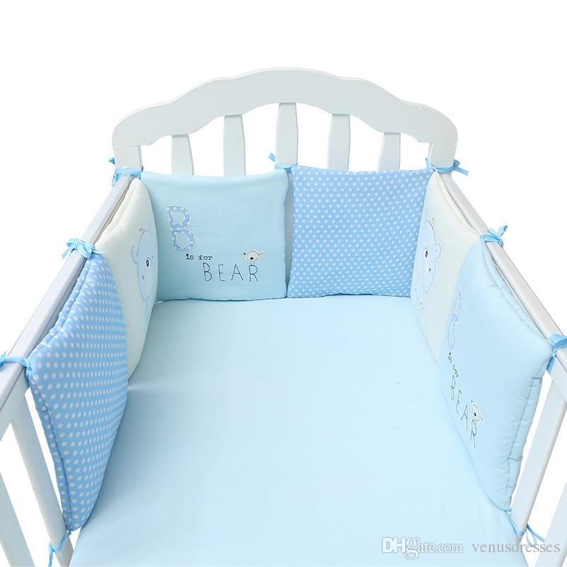 100٪ القطن سرير مصدات للطفل لطيف المطرزة الدب لينة سرير حماية الوفير كل قطعة 30 * 30CM