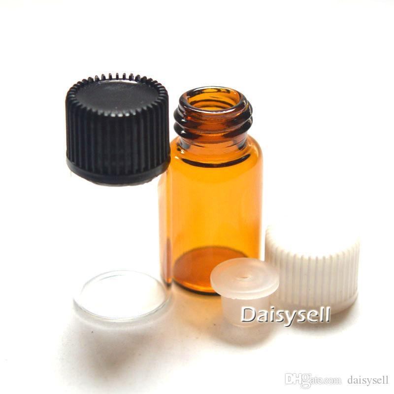 300pcs Orificio 3ml Botella pequeña de color ámbar Tapón reductor Botella de aceite esencial Mini viales transparentes Tubos de muestra de perfume Botella de 3 ml