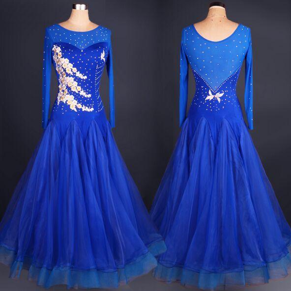 2018 Yüksek Kalite Custom Made Balo Salonu Dans Elbise Mor / Kırmızı / Mavi Lady Elbise Balo Salonu Standart Dans Kadın Viyana Vals Elbise giyim
