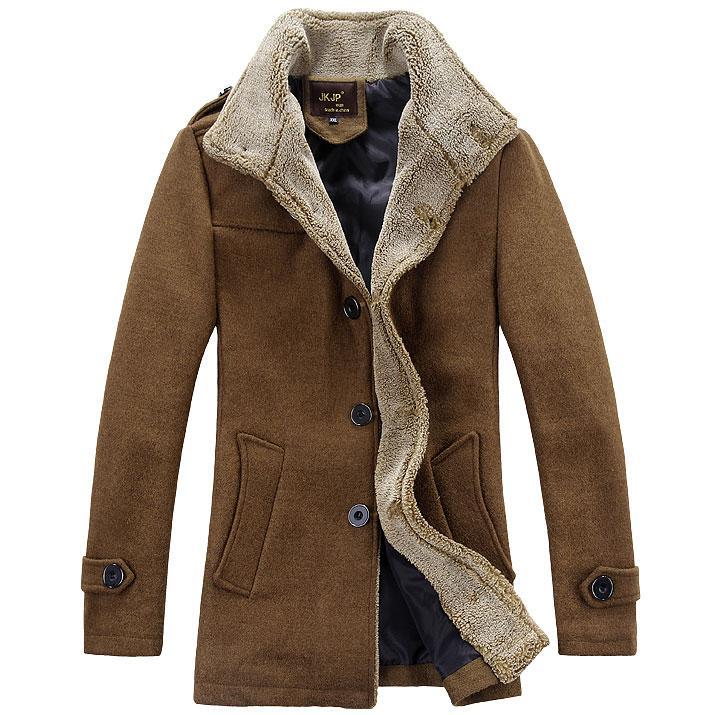 Plus Size S-6XL New men's winter wool coat Fashion Fur Lapel long paragraph slim fit men jackets mens outwear Trench Coat C910