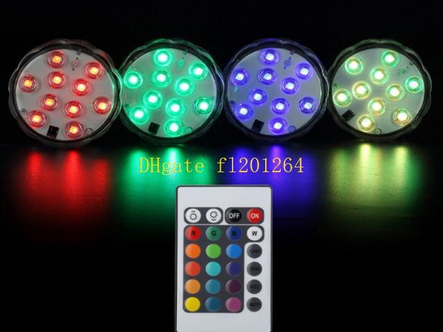 300pcs / lot Livraison Gratuite Télécommande 16colors Submersible LED light 10 LED vases base light For fête de mariage