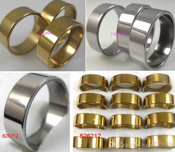 50 stücke Goldene / silberne Mischung 8mm Band Ringe Männer Frauen Edelstahl Ringe Großhandel Modeschmuck Lots