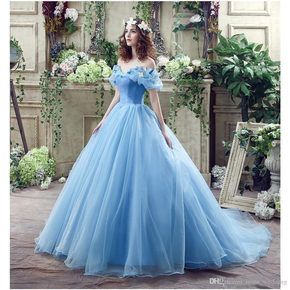 Blue Cinderella Ball Gown Wedding Dresses 3d Appliqued Off Shoulder ...