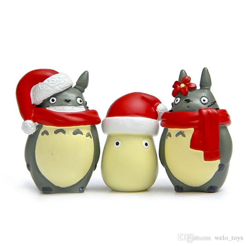 Каваи рождественская серия Тоторо рисунок игрушки мини Тоторо аниме фигурки дисплей кукла DIY Рождественская вечеринка украшения