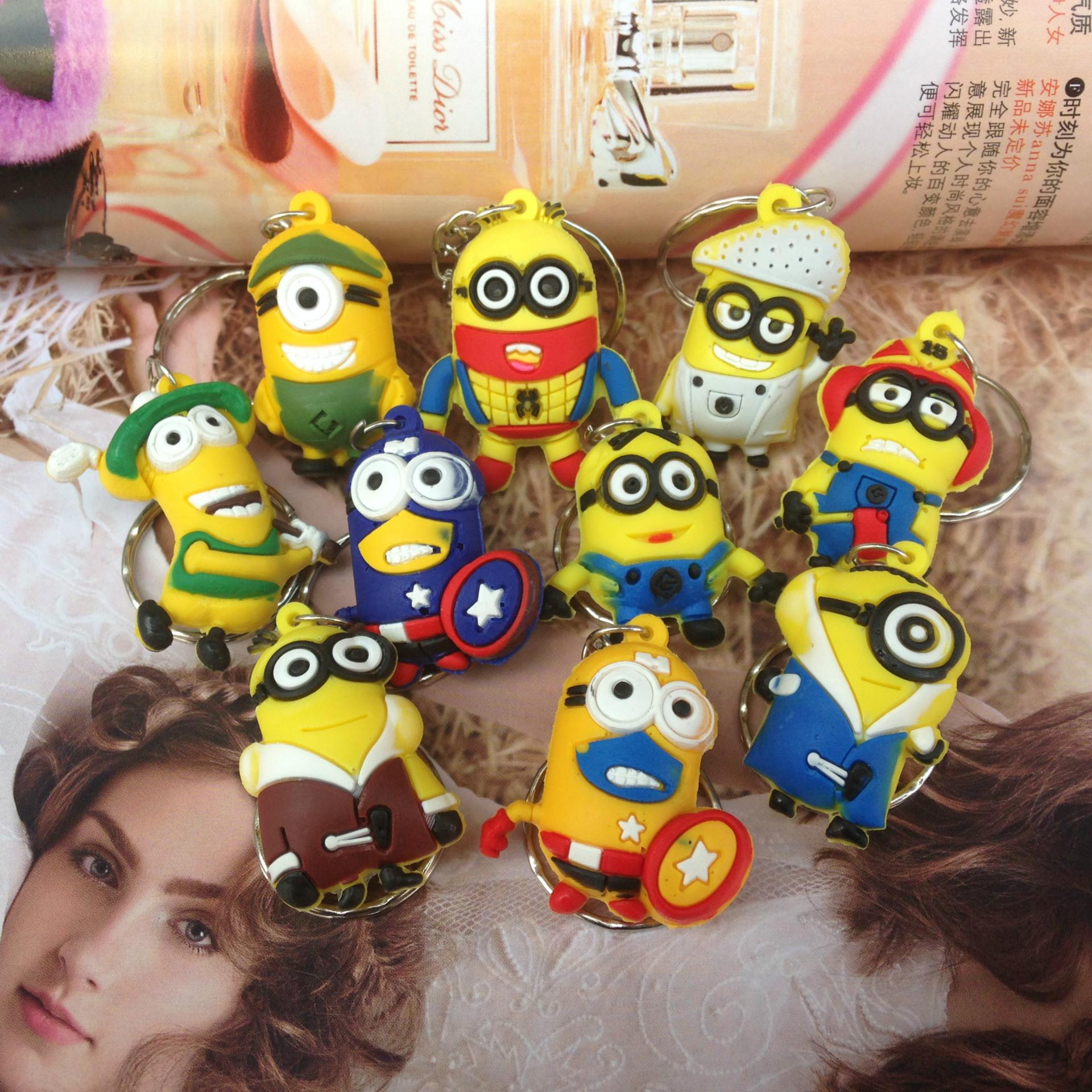 Explosion, creative jewelry, stereo silicone, cartoon small yellow man key buckle pendant wholesale