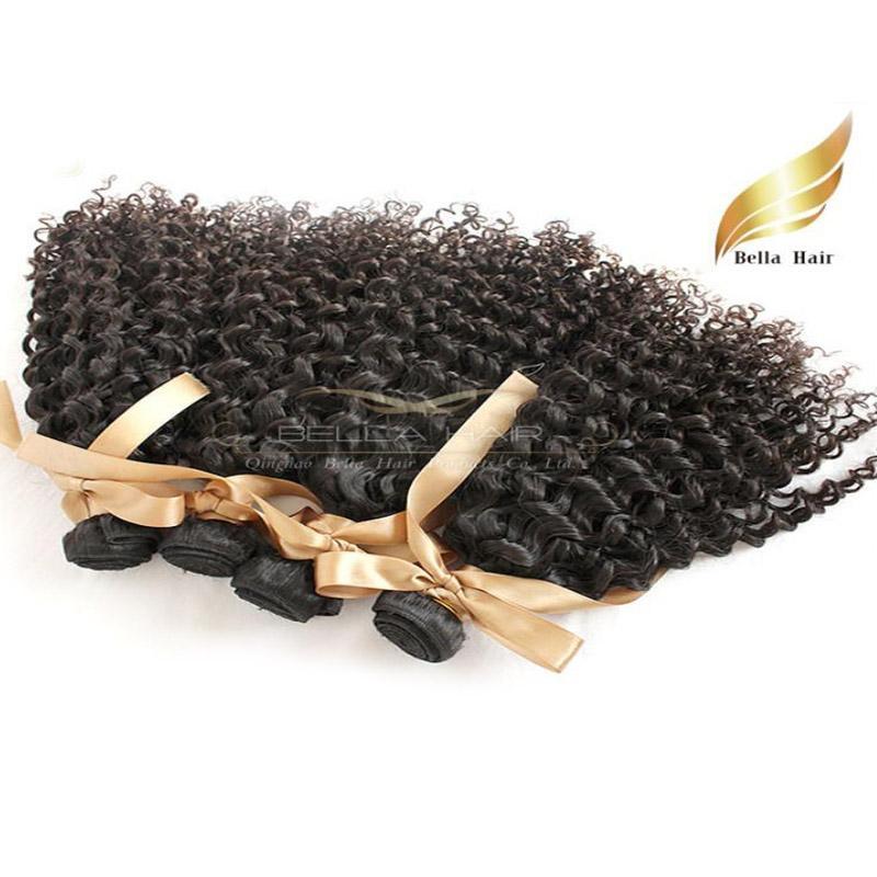 "Peruvian Hair Wefts 4pcs/lot 8""-30"" Human Hair Extensions Kinky Curly Hair Bundles 8A Natural Color Bellahair"