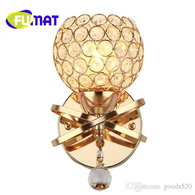 FUMAT Modern Crystal Wall Lamp Iron Metal Wall Light Fixtures Living Bedroom Home Lighting Lamparas De Pared Wall Sconces