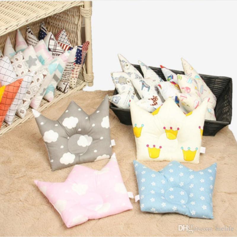 Baby Forming Pillow Cotton Prevent Flat Head Baby Cute Crown Shape Pillow Newborn Boy Girl Sleeping Bedding