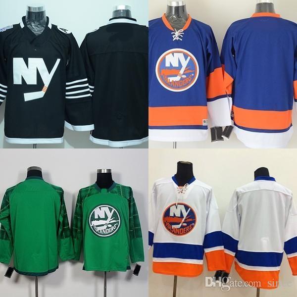 Factory Outlet Mens 2017 nuovi arrivi-New York Islanders Bianco Verde Nero Bianco Blu a buon mercato di alta qualità maglie da hockey su ghiaccio spedizione gratuita