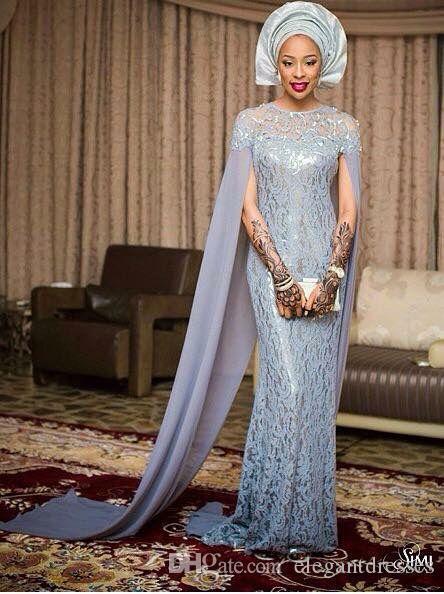 2021ビンテージ人魚のレースグレイカスタムメイドのアフリカフィエスタファッションフォーマルロングパーティーイブニングウエディングドレス